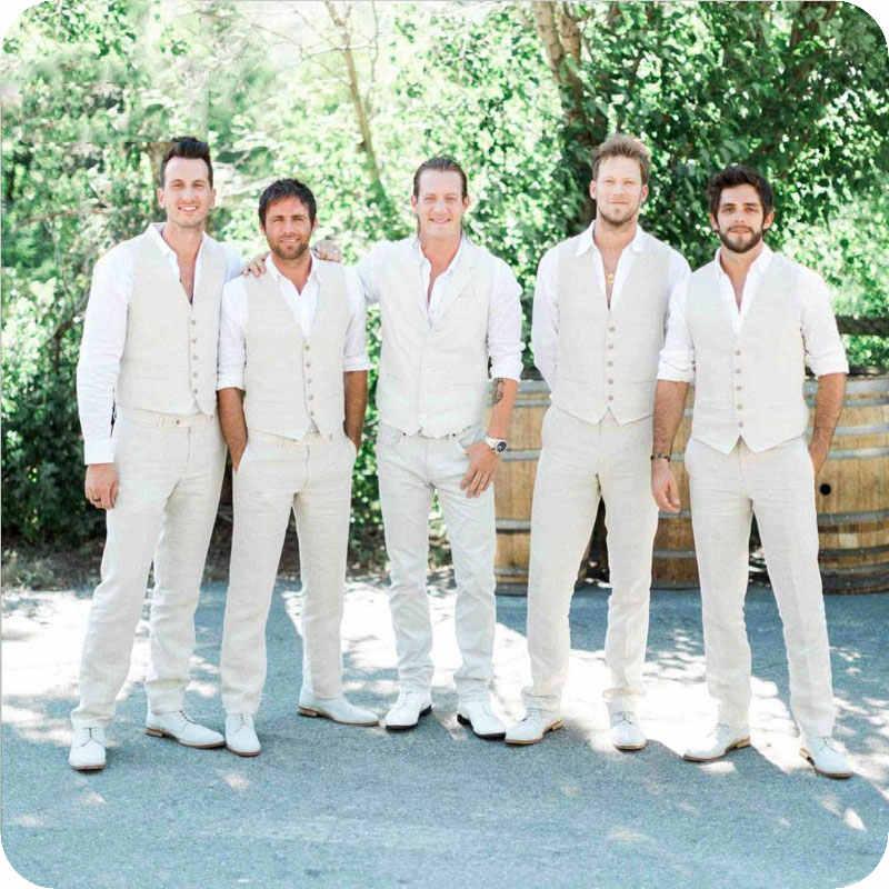 カスタムメイドビーチウェディングアイボリーリネンの男性が結婚式メンズクラシックスーツスリムフィット新郎タキシード 2 枚のベスト + パンツを着用してください