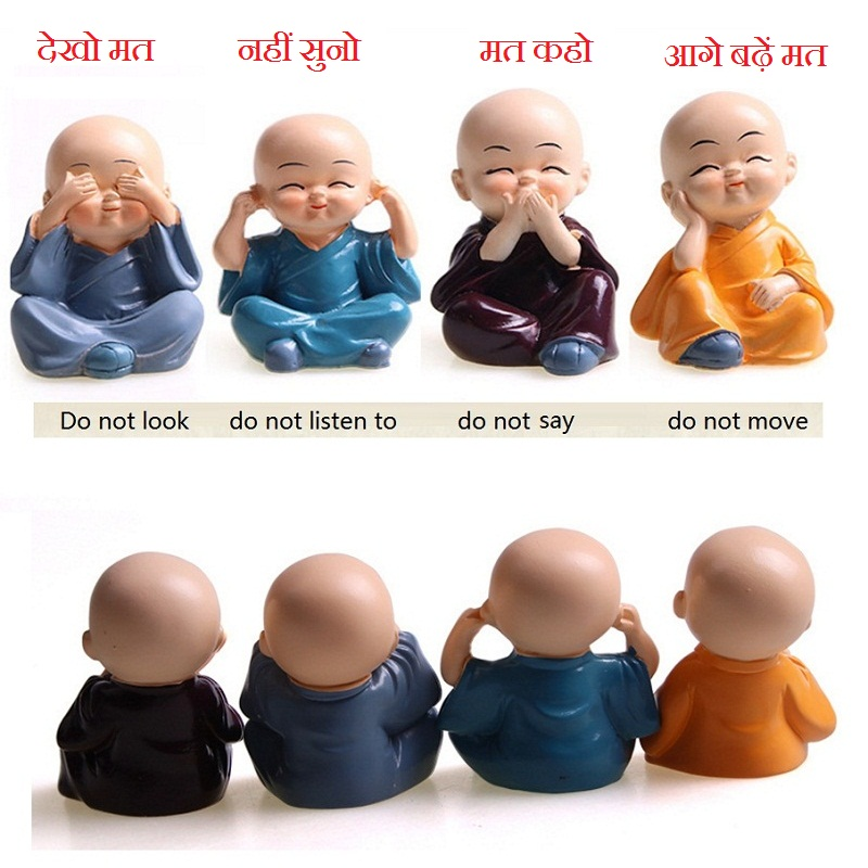 Lower Price with Hotsale 4pcs/lot Stylish 4 Not Monks Cartoon Car Interior Toys Auto Office Desk Home Hall Cute Decoration Toy Ornamental Convenience Goods Ornaments Automobiles & Motorcycles