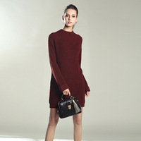 6 Colors Casual Loose Turtleneck Long Knitted Sweater Dress Women Cotton Knitting Dress Pullover Female Autumn