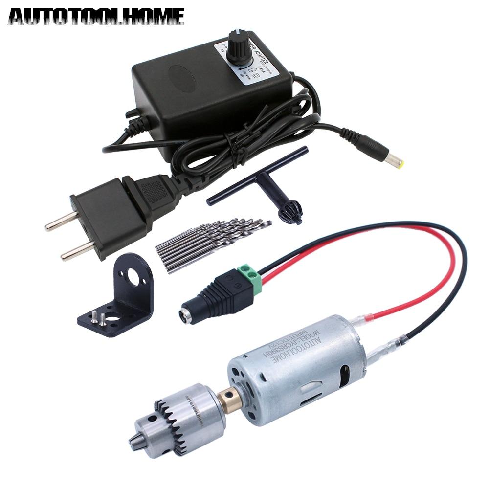 3-12V 1A Adjustable DC Motor Electric Drill Bits Set Mini Drill Press Power Tools Fit Walnut Jewelry PCB Wood Drilling Hole Saw