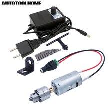 3 12 v 1A Motor DC Ajustável Poder Brocas Conjunto de Mini Furadeira Elétrica Ferramentas de ajuste de Jóias Nogueira PCB Perfuração Madeira Buraco Serra