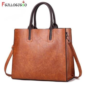 FGJLLOGJGSO Fashion Wax oil Leather Handbags Women Casual Tote Bags female messenger bag Women Handbags Ladies Crossbody Bags grande bolsas femininas de couro