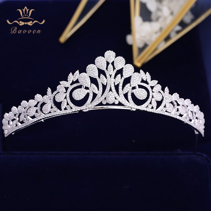 Bavoen High end Full Zircon Brides Crowns Tiaras Plated Crystal Wedding Hairbands Silver Evening Hair Accessories