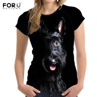 FORUDESIGNS Cute 3D Animal Dog Scottish Terrier Print Women T Shirts Stylish Girls Short Sleeve Top