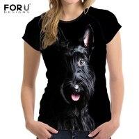 FORUDESIGNS Cute 3D Animal Dog Scottish Terrier Print Women T Shirts Stylish Girls Short Sleeve Top