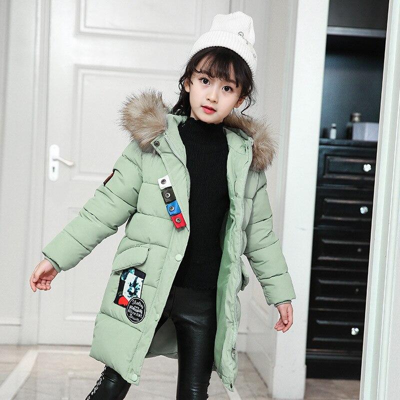 Children Outerwear Jackets Korean Long Thick Cotton Hooded Girls Down Cotton Coat 5-10 YearsChildren Outerwear Jackets Korean Long Thick Cotton Hooded Girls Down Cotton Coat 5-10 Years