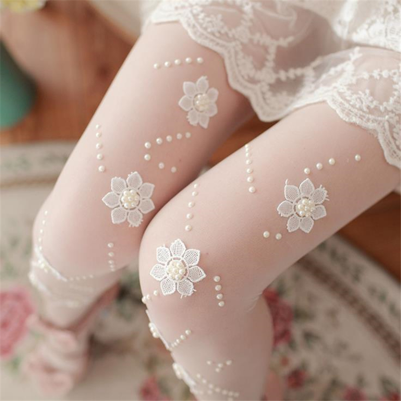 Girls Women Sexy Pantyhose White Flower Applique Silk Stockings Ultra Thin Transparent Slim Tights Lady Elastic Stockings Summer