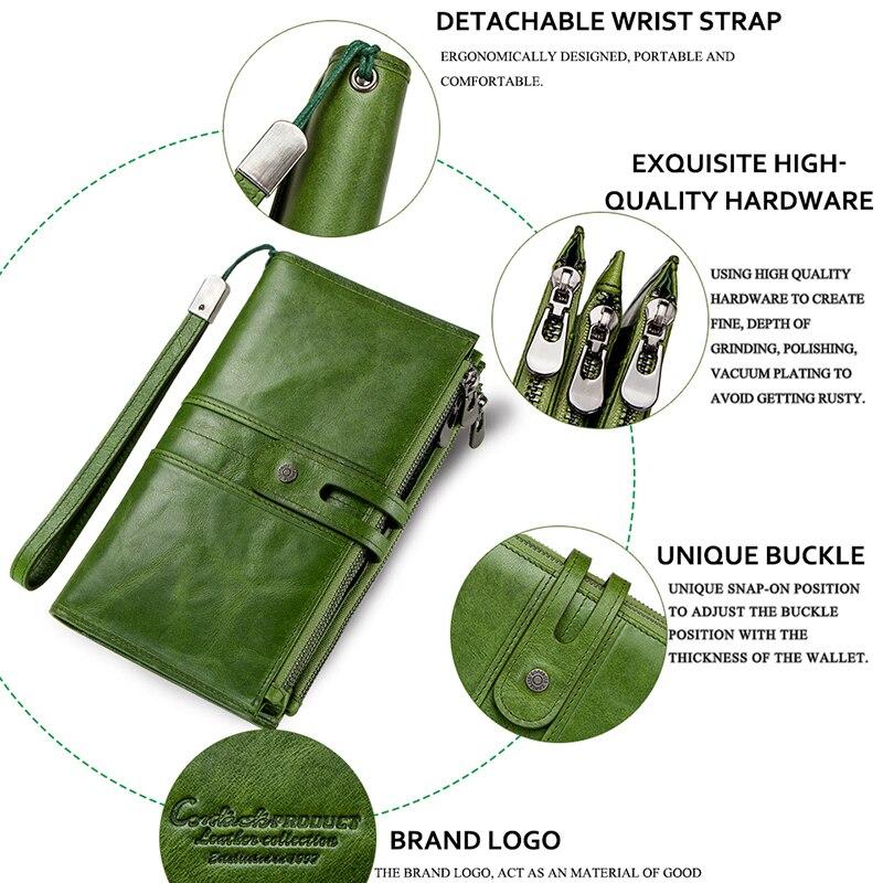 Contact's portefeuilles en cuir véritable fermeture à glissière sangle porte-monnaie femme Long portefeuille pour les femmes moraillon conception de mode porte-carte sac de téléphone - 5