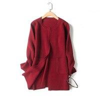 Высокий класс 100% мериносовой шерсти вязать Женская мода свитер; кардиган; Пальто открыть стежка низкий о образным вырезом ЕС/M L