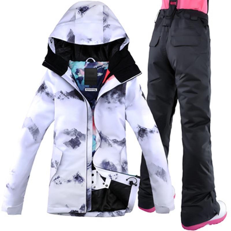 2018 GSOU SNOW Women Ski Jacket Pant Windproof Waterproof Super Warm Skiing Snowboard Suit Female Winter Clothing Trouser Suit