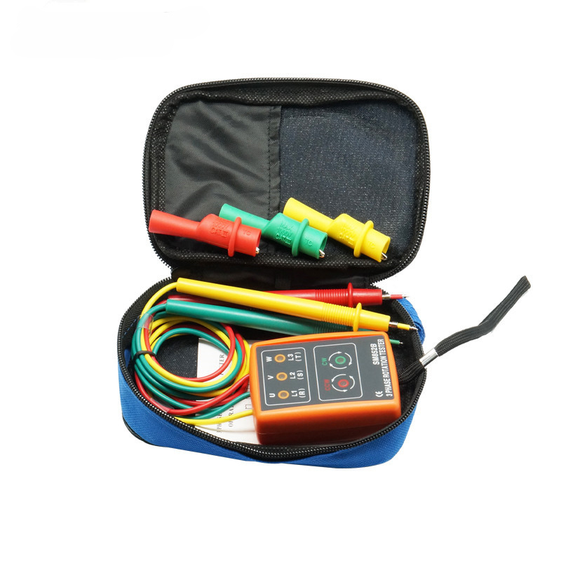 TKDMR Naujas 3 fazių sekos sukimosi testerio indikatoriaus detektoriaus matuoklio matuoklis su LED lempute su nešiojamu dėklu TD-LED02 SM852B Nemokamas pristatymas