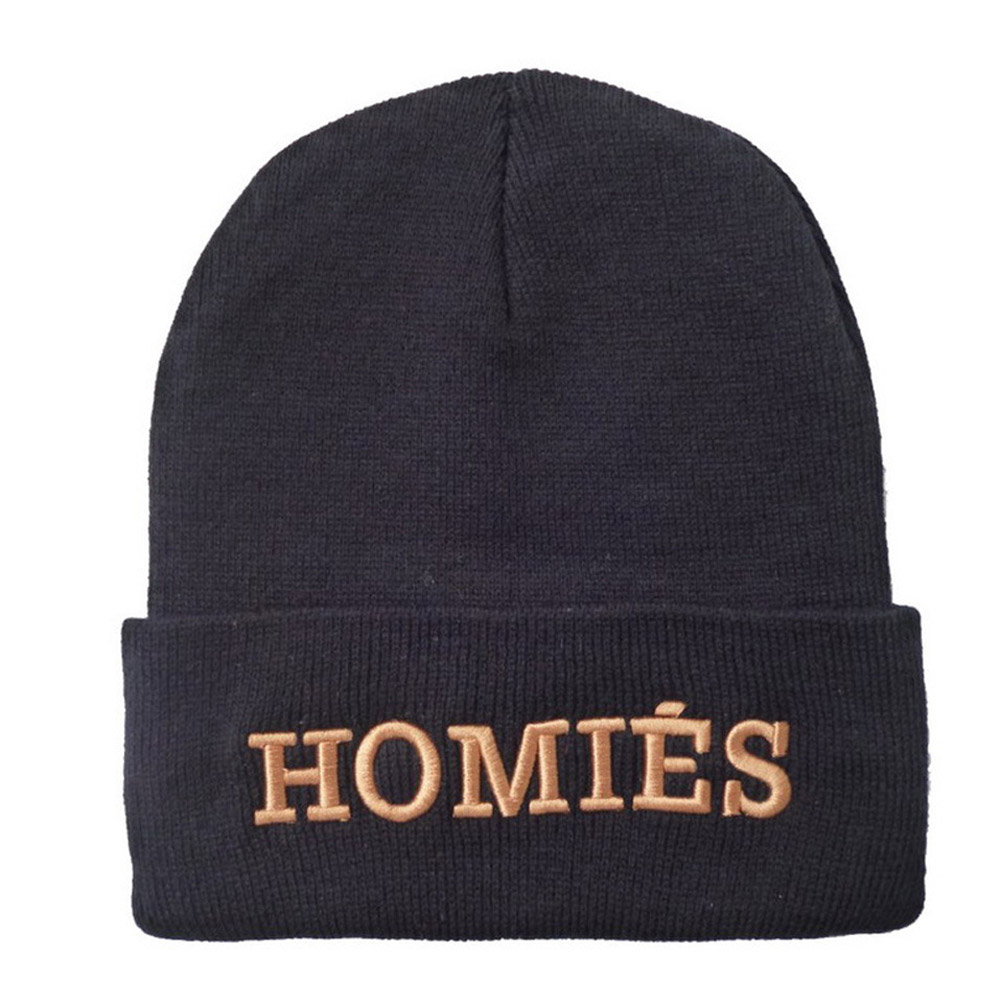 2017 Hot Sale HOMIES Male Beanies Hat Men Letter Hip Hop Beanies Skull Hat  Knitted Wool Hats for Women Winter Hats Head Cap rwby letter hot sale wool beanie female winter hat men
