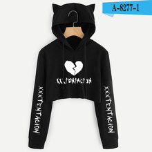 e8ee4b68 Heart-broken Xxxtentacion Cute Womens Hoodie Crop Tops Cat Ear Cropped Sweatshirt  Hooded Pullover XXS. 6 Colors Available