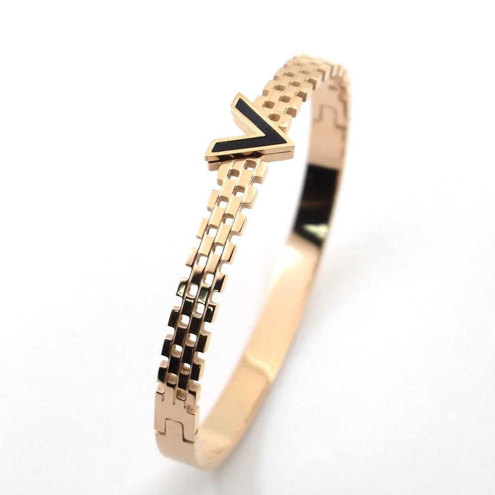 Rose Gold Color V Black Shell Strip brand Fashion Jewelry Cuff Carter Bracelets Bangles 316L Stainless Steel Bracelets For Women