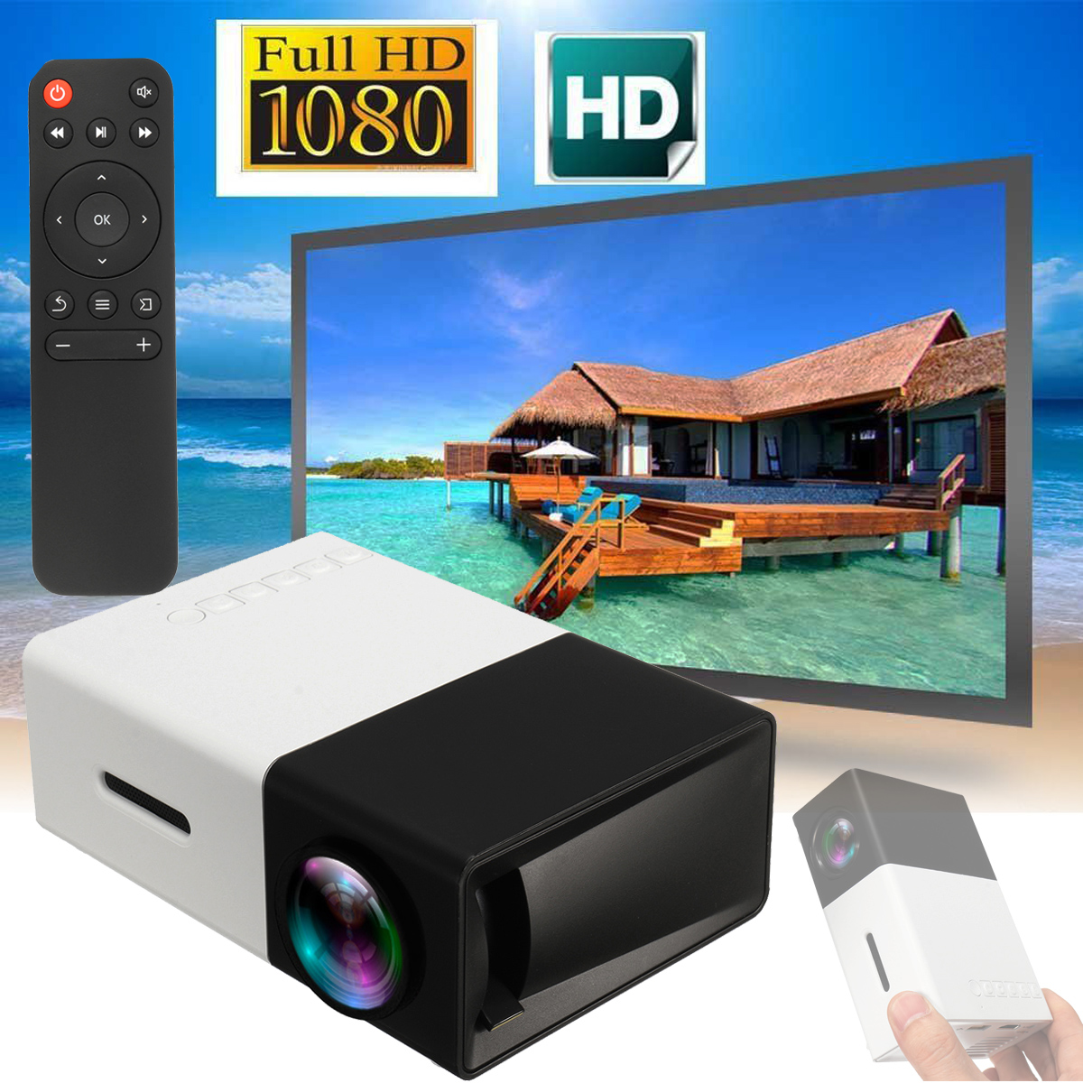 Mini Portable HD 1080P LED AV SD USB Projector Home Theater Black LED Home Projector Mobile projector uc40 55whd 1080p mini home 1080p led projector 50lm w hdmi av sd usb
