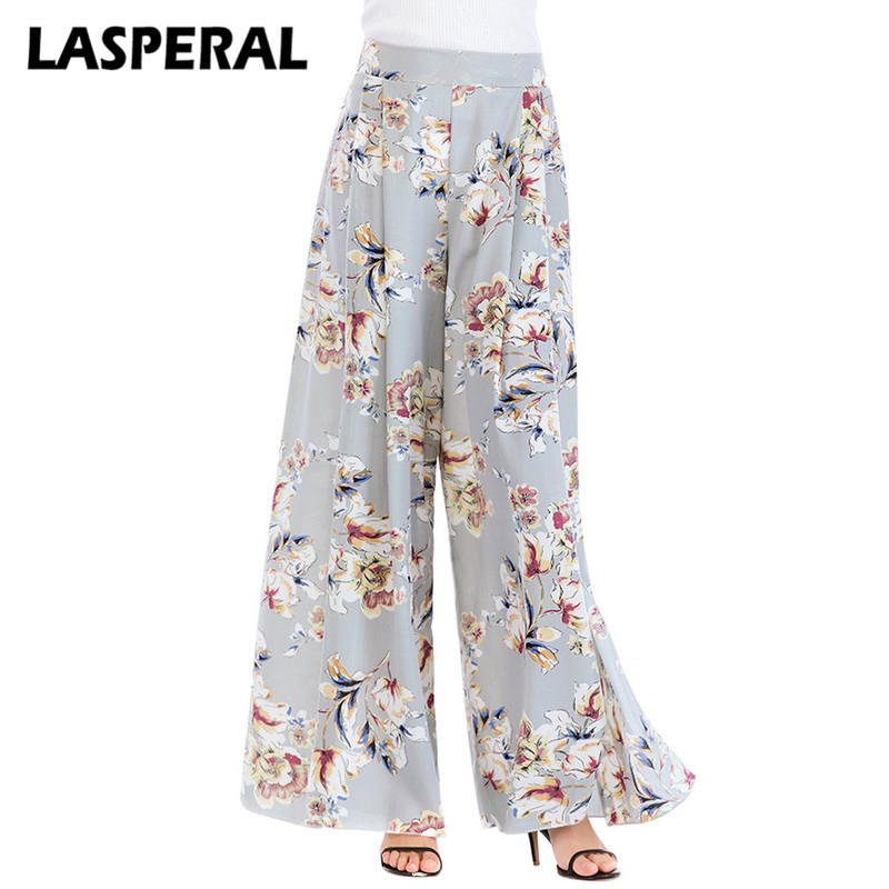 LASPERAL Women Loose   Wide     Leg     Pants   Fashion Boho Floral Print Sweatpants Trousers Summer 2018 High Waist Vintage Chiffon   Pants