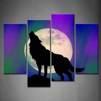 Framed Wall Art Pictures Wolf Rock Northern Lights Canvas Print Animal Modern Posters With Wooden Frames For Living Room