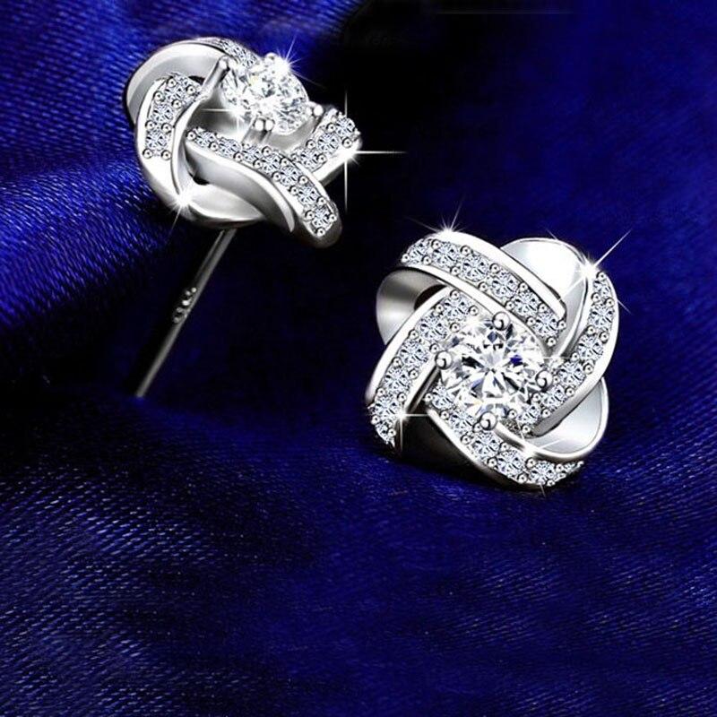 DIEERLAN 19 Bridal Jewelry Sets 925 Sterling Silver Crystal Cross Clover Flower Necklaces for Women Wedding Jewelry Bijoux 15