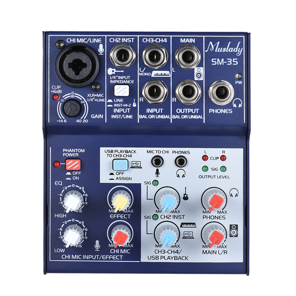 buy muslady sm 35 compact size 4 channel sound card mixing console digital. Black Bedroom Furniture Sets. Home Design Ideas
