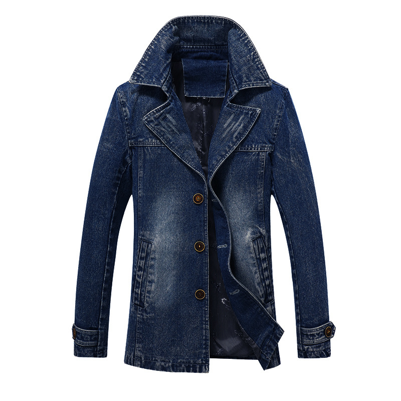Brand New 5XL Men's Denim Trench Spring Autumn Fashion High Quality Plus Size Casual Denim Trench Coat Men Outwear BY1601