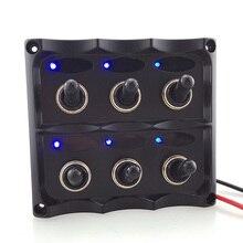 6 Pcs Interrupteur À Bascule ON-OFF Voiture Bateau Marine Commutateurs Panneau Étanche LED Lumière Pour 12/24 V Voitures