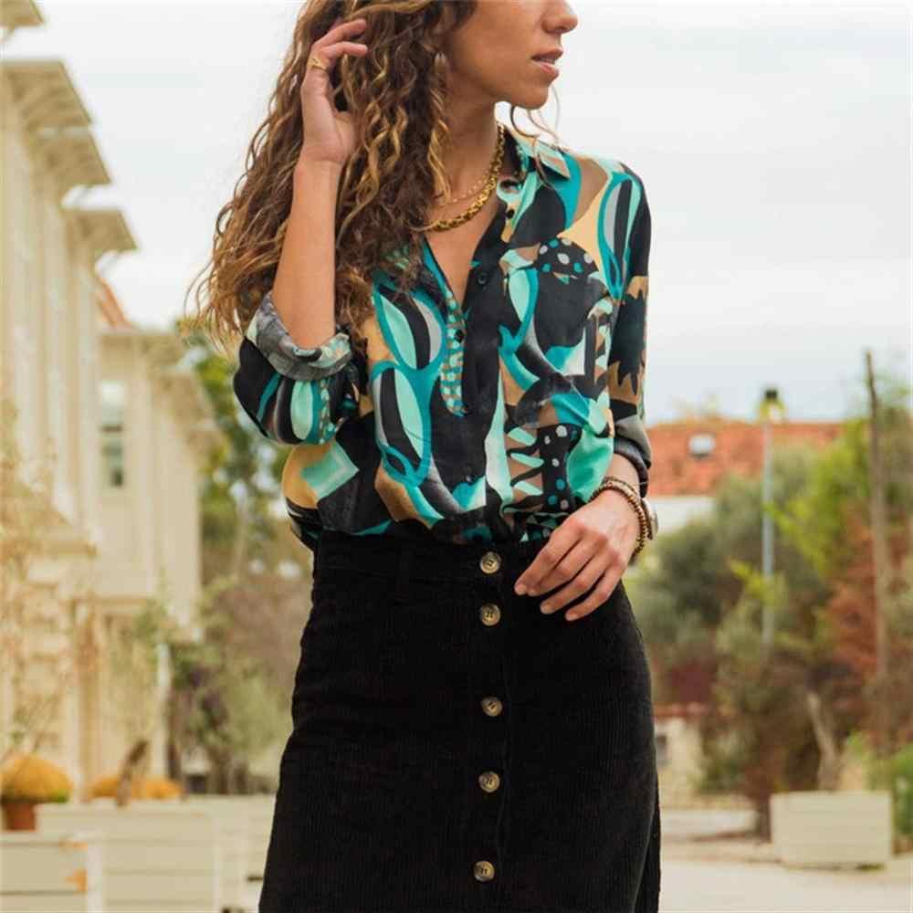 נשים חולצות 2019 אופנה ארוך שרוול להנמיך צווארון משרד חולצת שיפון חולצה חולצה מזדמן חולצות בתוספת גודל Blusas Femininas