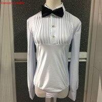 Hot Dance Men's Latin Top Boys Dance Leotard Costumes Modern Latin Ballroom Dance Wear with Zipper for 100 185cm Free Custom