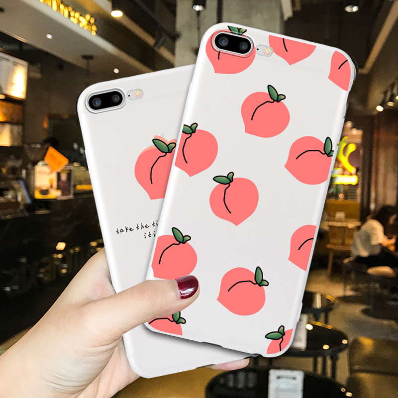 For iphone 6 7 8 6S Case For iphone X XS XR 8 7 6 Plus Case Capas For iphone XS Max Case Cover Strawberry Soft Phone Case Coque