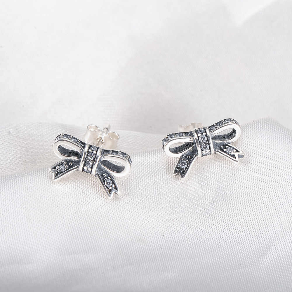 eab56ffc7 ... CUTEECO 2018 Fashion Hight Quality Silver Pandora Earring Sparkling Bow  Stud Earrings With Clear CZ Women