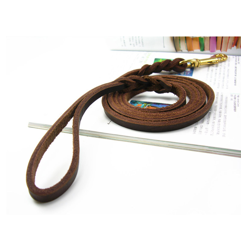 High Quality Puppy Dog Leash Genuine Leather Durable Dog Collar Walking Leash Rope Outdoor For Small Medium Dogs Products XS S M in Leashes from Home Garden