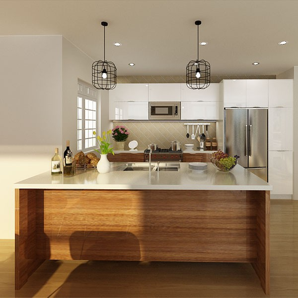 2014 USA Project Apartment PVC Cabinets Cheap Kitchen Cabinet