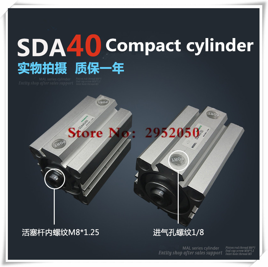 SDA40*45-S Free shipping 40mm Bore 45mm Stroke Compact Air Cylinders SDA40X45-S Dual Action Air Pneumatic Cylinder 45