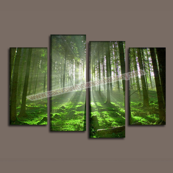 Home Decor Canvas Wall Art Painting Green Forest Art