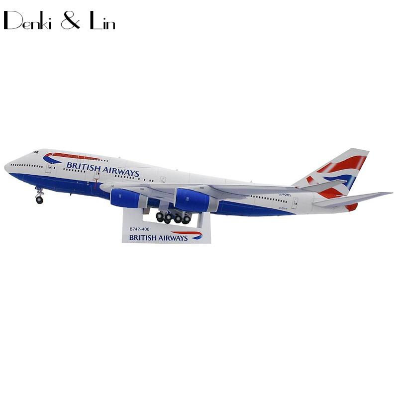 British Airways Boeing747-400 Paper Model 49cm x 45 cm 1:144 Scale 3D DIY Education Toys