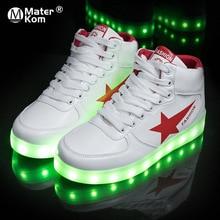 Formato 35 44 di Alta Top Scarpe LED di Ricarica USB Light up Shoes per Gli Uomini e Le Donne di Cuoio DELLUNITÀ di elaborazione luminoso Raggiante Scarpa Krasovki con Retroilluminazione