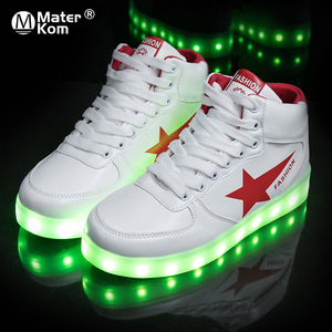 Image 1 - Size 35 44 High Top LED Shoes USB Charging Light up Shoes for Men&Women PU Leather Luminous Glowing Shoe Krasovki with Backlight