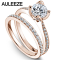Flower Rings Fine Jewelry 1CT Moissanites Engagement Ring Set Solid 14K Rose Gold Rings Lab Grown Diamond Wedding Bride Set