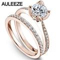 Flower Rings Fine Jewelry 1CT Moissanites Engagement Ring Set Solid 14K Rose Gold Rings Lab Grown Diamond Wedding Bride Set