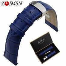 ZLIMSN Italian Genuine Leather Watchbands Single Push Butterfly Buckle Blue Crocodile Grain Watch Strap 18 20mm