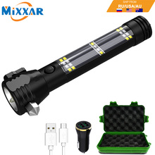 EZK20 Dropshipping 5000 Lumens Solar Flashlight USB Rechargeable Tactical Multi-function Torch Car Emergency Tool Compass