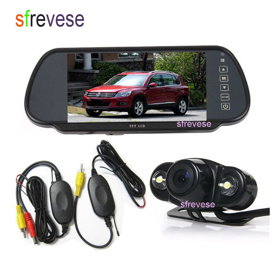 Wireless 2 LED Night Vision Car Parking Backup Reversing Camera 170 Degree Wide Angle + 7
