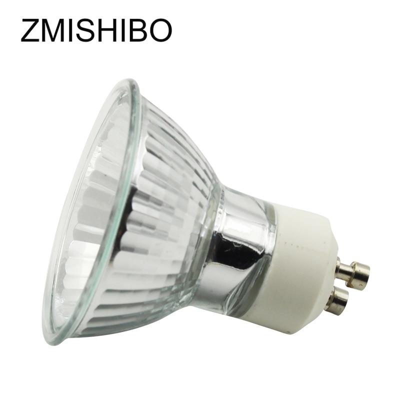 ZMISHIBO 10 pçs/lote GU10 Lâmpada de Halogéneo 220 V 35 W 50 MM MR16 50 W Diâmetro de Vidro Transparente Com Tampa pode ser escurecido Spot Lâmpada Quente 2700 K Branco