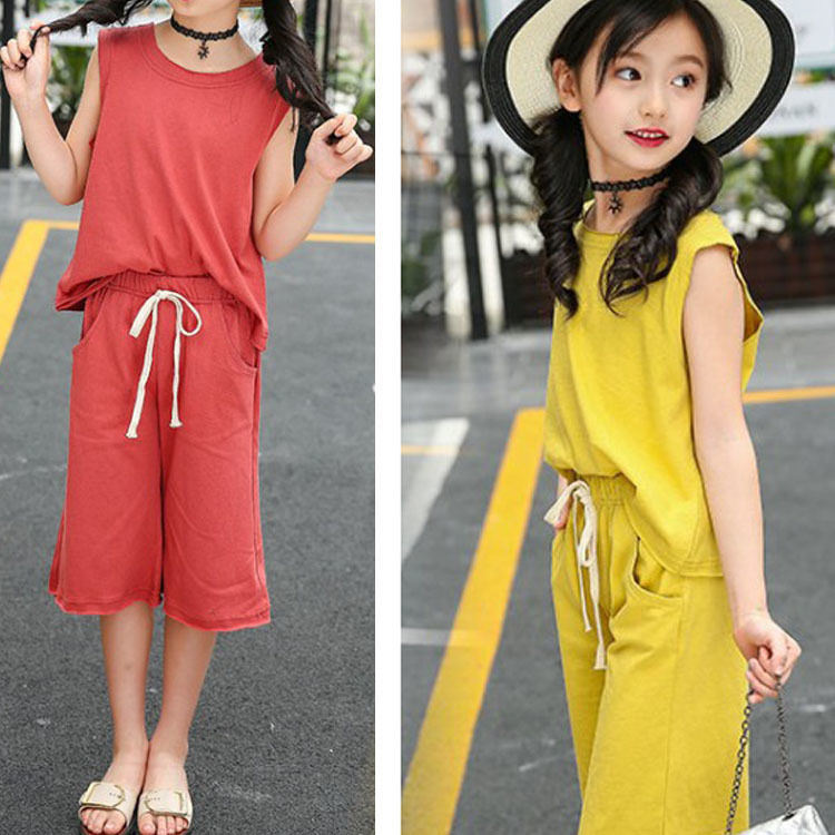 knee length pants 2018 clothes sets for girls summer big girls summer clothes 10 12 year yellow red t shirts suits kid outfits 2017 summer girls sets clothes short sleeve chiffon baby girls sets for kids big girls t shirts and stripe shorts children suits