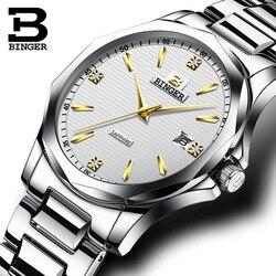 Oryginalny marka luksusowe BINGER mężczyźni pełna szafirowe ze stali nierdzewnej zegarki kwarcowe mężczyzna biznes serii kalendarz tabeli wodoodporna