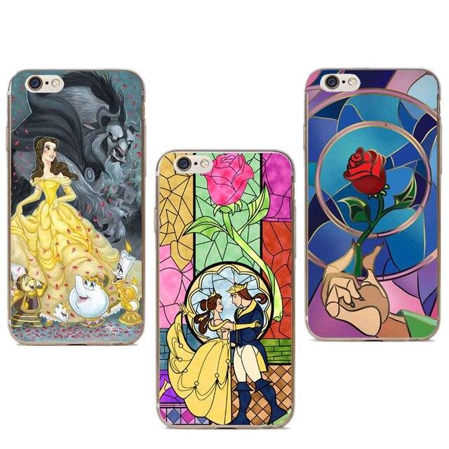 cd2bed6c099 Funda de teléfono dura transparente estilo Bella y La Bestia rosas para  iPhone SE 4 4S