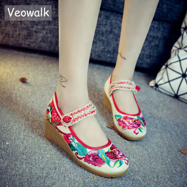 ca60cba5991 Veowalk Floral Embroidered Women Canvas Mary Janes Strap Pumps Med Heel  Comfort Casual Wedge Platforms Shoes for Elegant Ladies