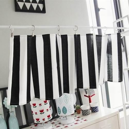 Black And White Stripe Curtain Short Kitchen Curtain 35x135cm