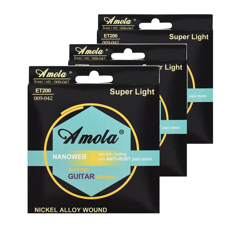 Electric Guitar Strings  Amola  ET200 Nickel Alloy Wound Nanoweb Ulra Thin Coating Steels 009-042 inch Super Light 3 Sets 009 042 electric guitar strings color nickel alloy hat cew730