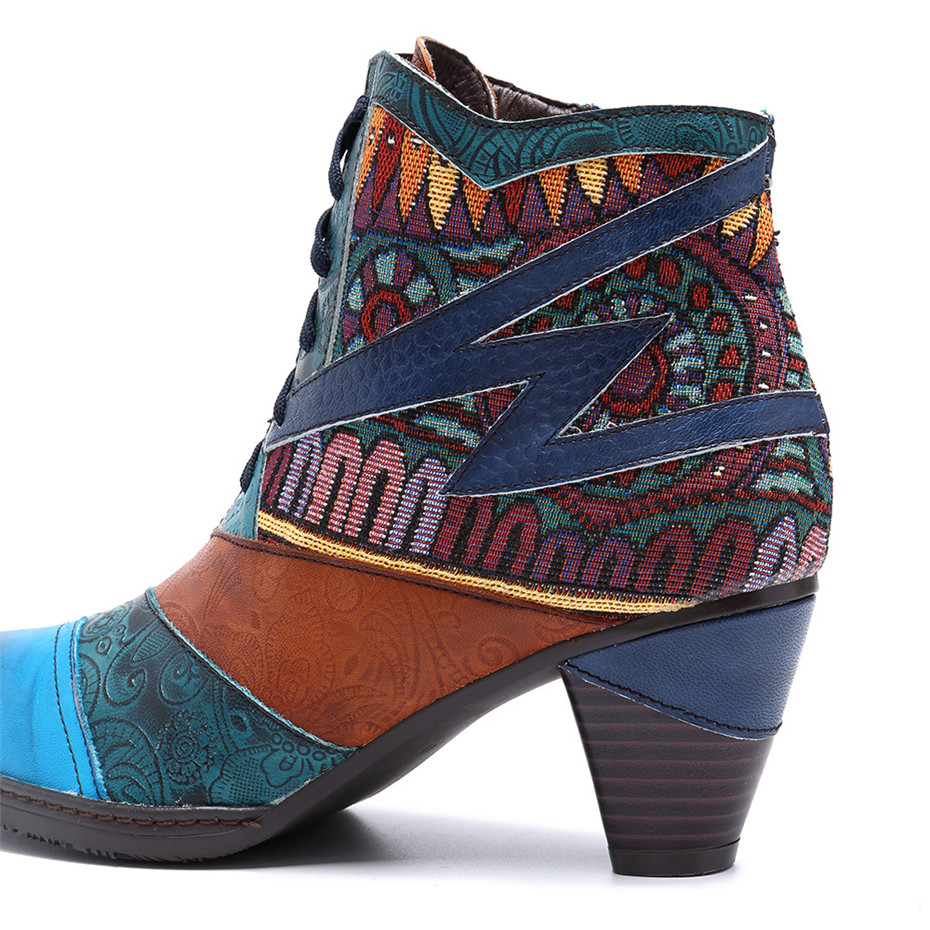D Knight Bohemian Splicing Women Boots Retro Genuine Leather Shoes Woman Zipper Mid Heels Ankle Boots Spring Autumn Women Shoes (10)