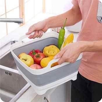 Silicone Washable Vegetable Fruit Basket Foldable Portable Camping Fishing Kitchen Basket Cleaning Tools Fruit Storage Basket
